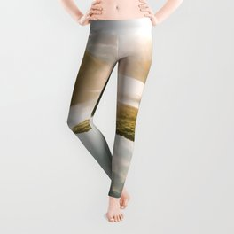 Switzerland Mountain Lake Sunrise - Landscape Photography Leggings
