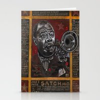 louis armstrong Stationery Cards featuring Louis Armstrong by Ray Stephenson