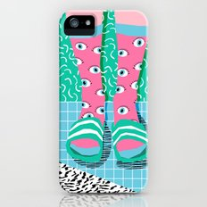 Chillax - memphis throwback style retro classic 1980s 80s grid pattern socks fashion apparel iPhone SE Slim Case
