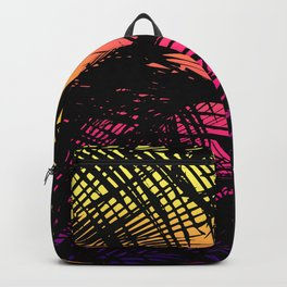 Tropical Black Palm Fronds on Pink Orange Yellow Backpack