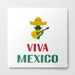 Viva Mexico lettering with sombrero, cactus and guitar Metal Print