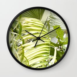 Palm Leaves - Ficus Fig Leaf - Tropical Wall Clock