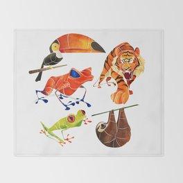 Rainforest animals 2 Throw Blanket