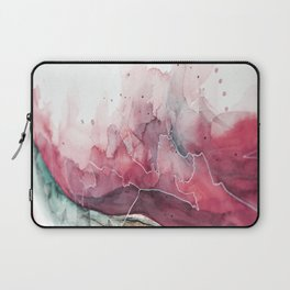 Watercolor pink & green, abstract texture Laptop Sleeve