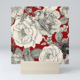 SEPIA FLOWERS ON RED Mini Art Print