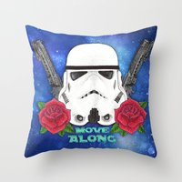 stormtrooper Throw Pillows featuring Stormtrooper by Larissa