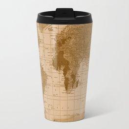Aged World Map Travel Mug