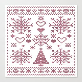 Christmas Cross Stitch Embroidery Sampler Pink And White Canvas Print
