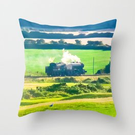 The Black Prince Steam Engine Throw Pillow