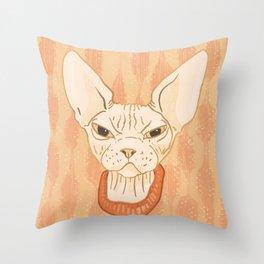 Grumpy Sphynx Cat - Hairless Kitty Illustration Throw Pillow