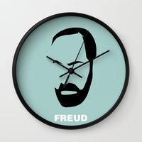 freud Wall Clocks featuring FREUD by eve orea