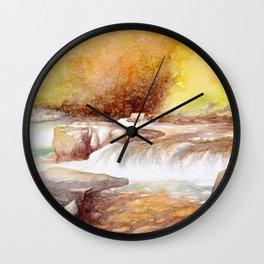 East Lyn river waterfall Wall Clock