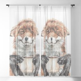 """ Morning fox "" Red fox with her morning coffee Sheer Curtain"