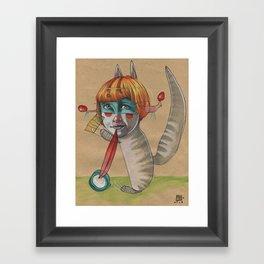 CAT CLOWN Framed Art Print