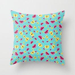 Crisscross Butterflies V.03 - Sapphire Blue Color Throw Pillow