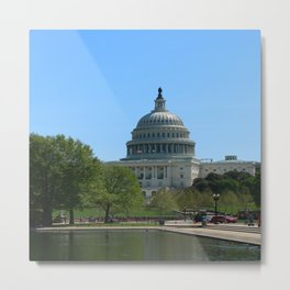 Capitol View With Reflection Pool Washington DC Metal Print