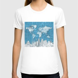 world map city skyline 10 T-shirt