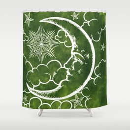 Moon vintage green Shower Curtain