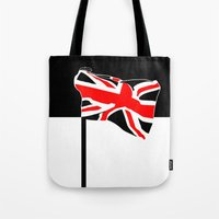 union jack Tote Bags featuring Union Jack by Visually Interesting