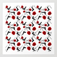 Roses Barbed Wire Guns Pattern Love Is War Art Print