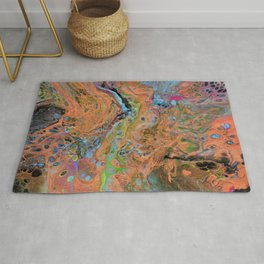 Fluid Copper - Abstract, original, fluid, acrylic painting Rug