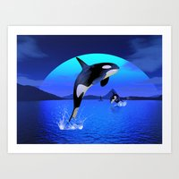 orca Art Prints featuring Orca by Simone Gatterwe