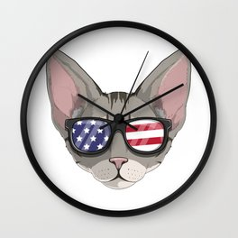 Patriotic Devon Rex Cat Kitty Merica American Flag Wall Clock