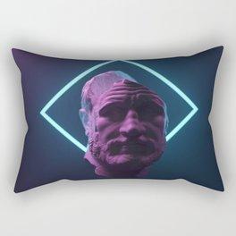 antique statue in neon light Rectangular Pillow