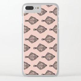 Pink flatfish pattern Clear iPhone Case