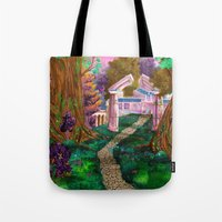 warcraft Tote Bags featuring Welcome in Darnassus by Studinano by Shou'
