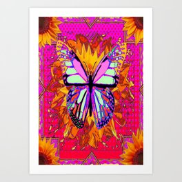 Rainbow Colored Butterfly On Red-fuchsia Sunflower Floral  Art Print