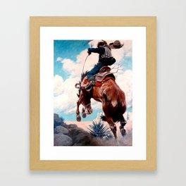 "Vintage Western Painting ""Bucking"" by N C Wyeth Framed Art Print"