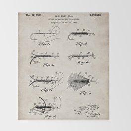 Fly Fishing Patent - Fisherman Art - Antique Throw Blanket