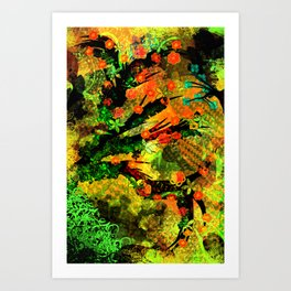 Abstract Art with flowers Art Print