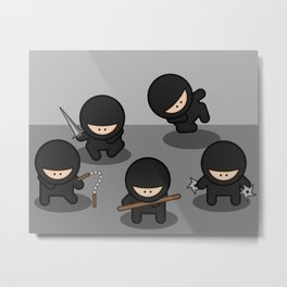 5 Little Ninja Babies Metal Print