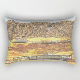 Iceland historical parliament and the rock wall Rectangular Pillow