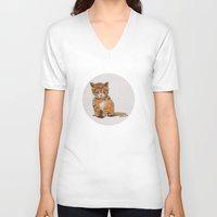 whisky V-neck T-shirts featuring Whisky, the Kitty by Gersin@Albatrostudio