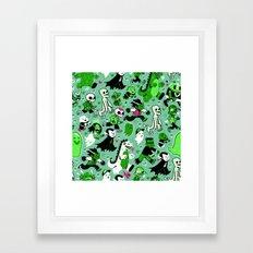 Monster March (Green) Framed Art Print