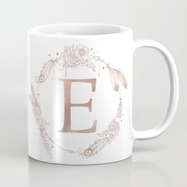 Letter E Rose Gold Pink Initial Monogram Coffee Mug