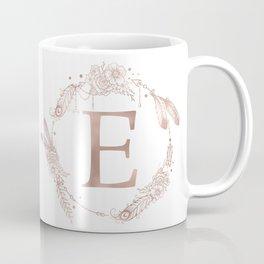 Letter E Rose Gold Pink Initial Monogram Coffee Mug
