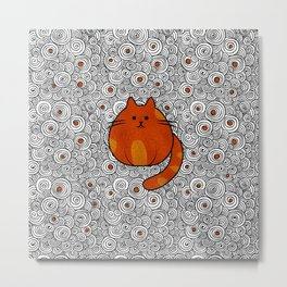 Cute Ginger Cat - Stained glass and swirls Metal Print