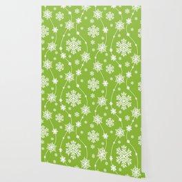 Christmas Green Snowflake Pattern Wallpaper