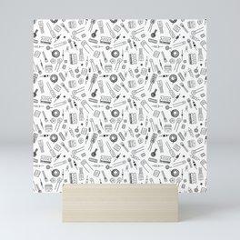 Circuit Components - Black on White Mini Art Print