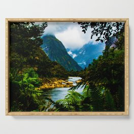 Fjord through the ferns - Milford Sound, New Zealand Serving Tray