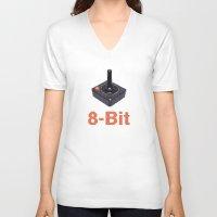8 bit V-neck T-shirts featuring 8-Bit by Cory Fitzpatrick