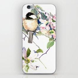 Chickadee and Dogwood Flowers iPhone Skin