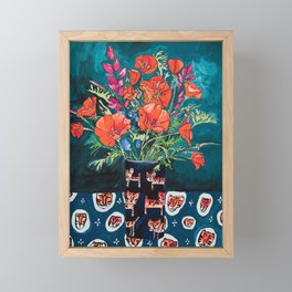 California Poppy and Wildflower Bouquet on Emerald with Tigers Still Life Painting Framed Mini Art Print
