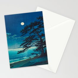 Vintage Japanese Woodblock Print Moonlight Over Ocean Japanese Landscape Tall Tree Silhouette Stationery Cards