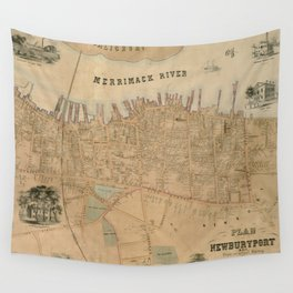 Vintage Map of Newburyport MA (1851) Wall Tapestry