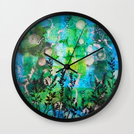 The Cheri - Beautiful Blues, Greens and Botanicals Wall Clock